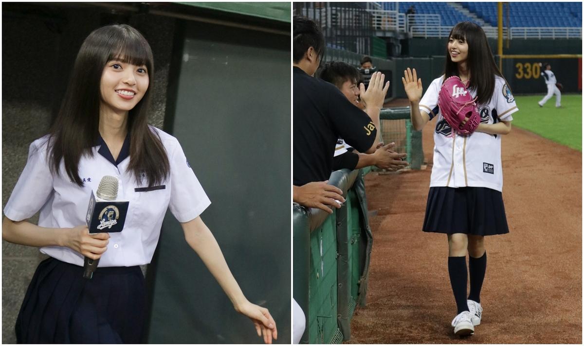 日版「沈佳宜」來台為Lamigo開球 穿高中制服萌秀中文