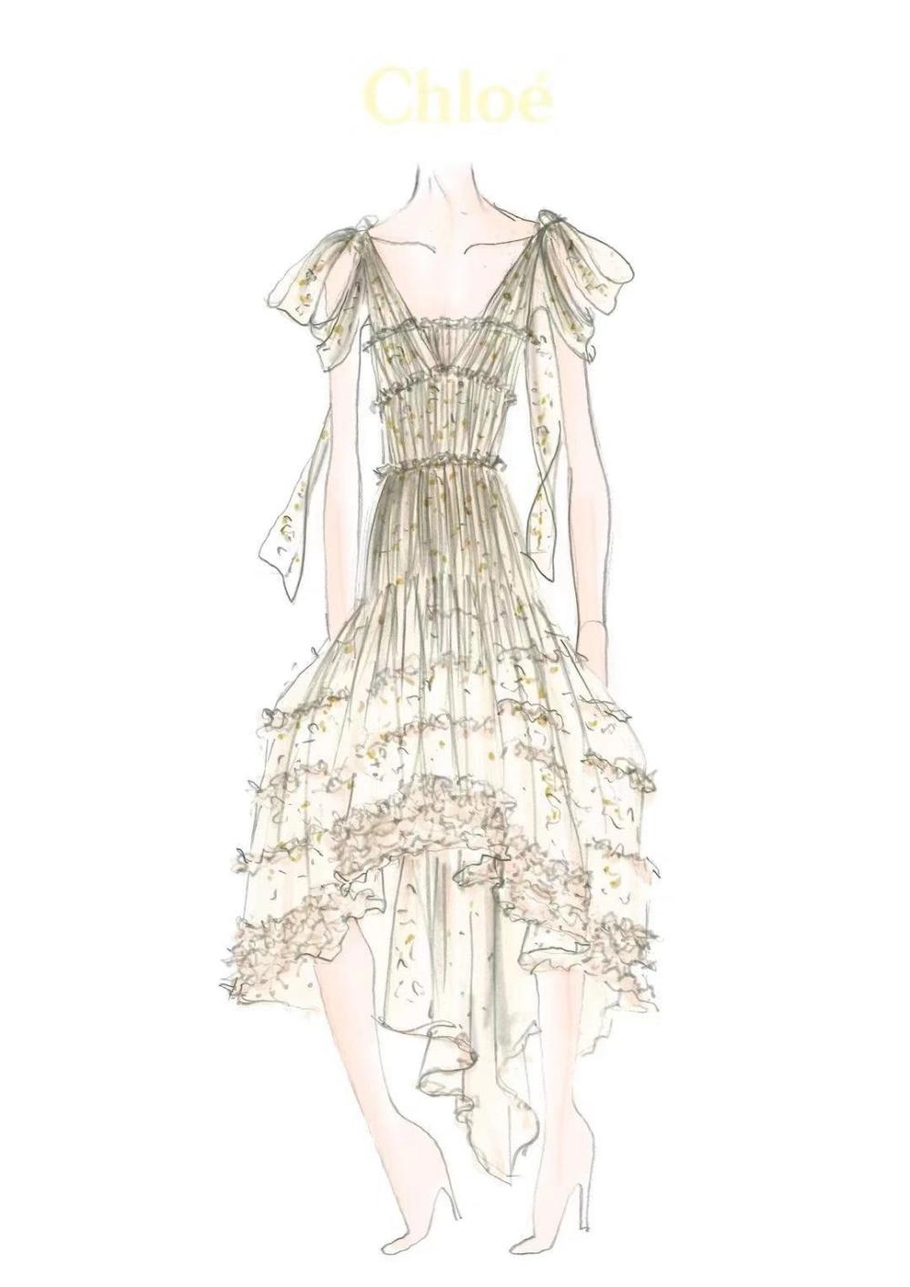 最甜新娘唐嫣化身Chloé小公主,一襲象牙白薄紗禮服美到讓人屏息!