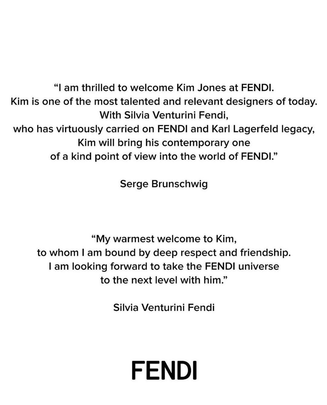 號外!FENDI宣布Kim Jones成為品牌女裝藝術總監,並同時擔任DIOR Men藝術總監