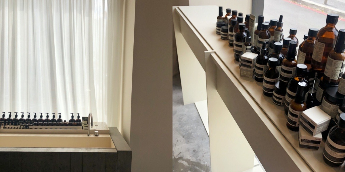細節控必訪,全新開幕Aesop南西店,樟木樹瘤紋路層架、清水混凝土洗手台、二手復古沙發,融合台灣與西方風格