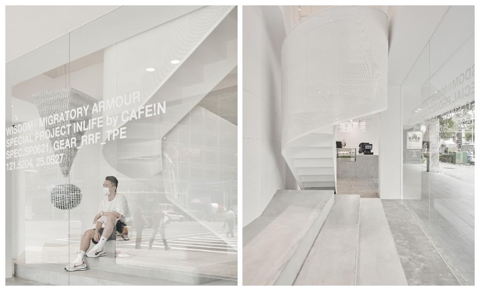台北純白咖啡館「CAFE!N台北民權店」太時髦!巨型驚嘆號、階梯式座位,全出自%ARABICA旅日設計師之手