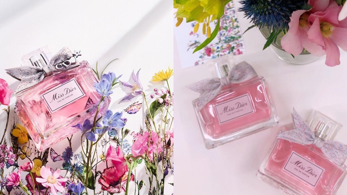 史上最美《Miss Dior香氛》,粉紅瓶身搭手工訂製緞帶,優雅中帶著一點俏皮,讓女孩再度陷入瘋狂