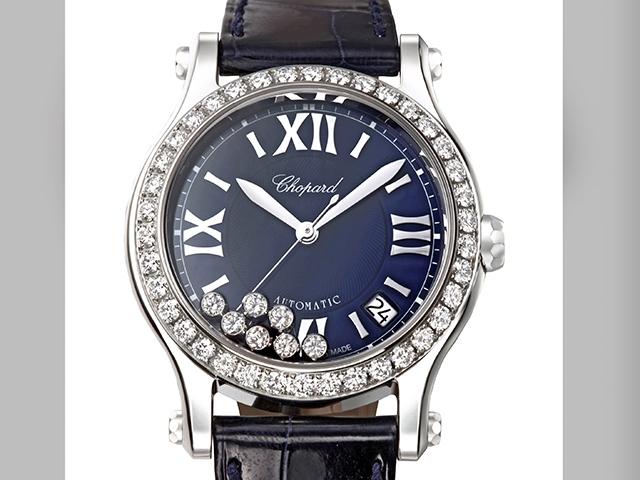 鑽石依然快樂 蕭邦Happy Sport腕錶藍面襯美鑽