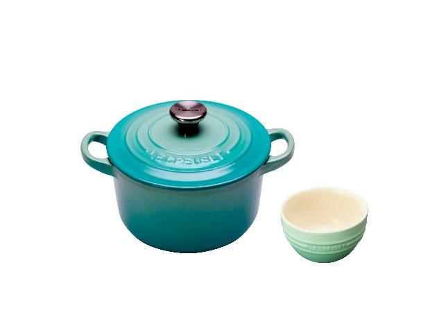 鑄鐵圓鍋16cm(薄荷綠),加贈瓷器韓式飯碗 原價880  特價4980 原價7800
