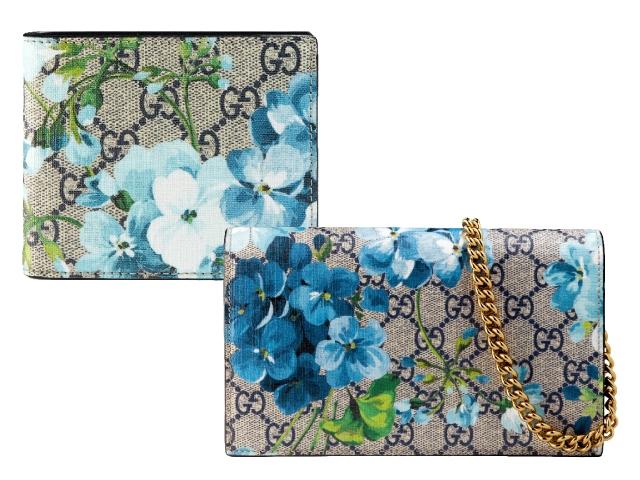 Gucci Blue Blooms藍色天竺葵印花短夾、藍色天竺葵印花鍊帶長夾
