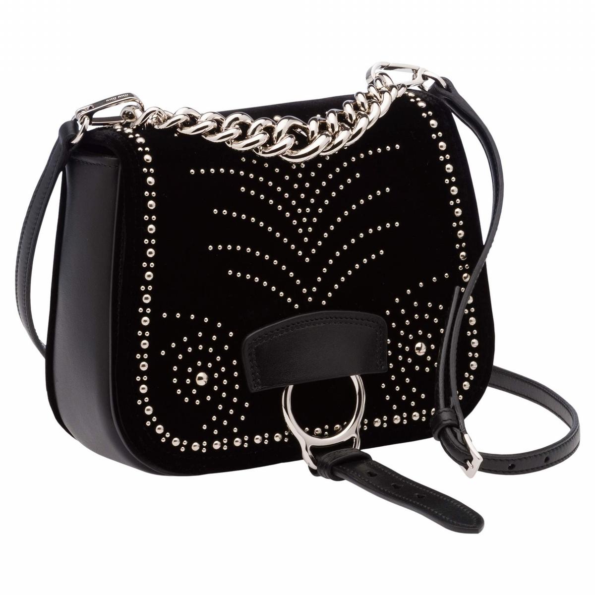 MIU MIU «DAHLIA»黛西亞馬鞍包, 天鵝絨鉚釘裝飾肩背包(小) $52,500
