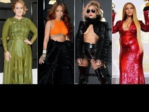 59屆葛萊美獎紅毯拚霸氣!透視、深V不稀奇,Lady Gaga真空側乳才是傳奇