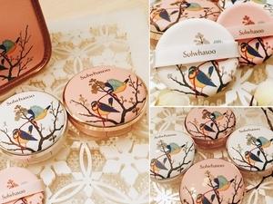 連粉撲也印有象徵帶來幸運的金絲雀!這款限定版氣墊粉餅必收