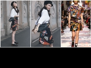Angelababy身著Dior 2018秋冬彩繡印花裙,甜美風格大秀鉛筆腿!