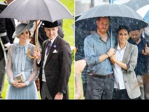 雨天為你撐傘的人絕對是愛情路上對的人!英國皇家賽馬會凱特、威廉共穿皇家藍曬恩愛