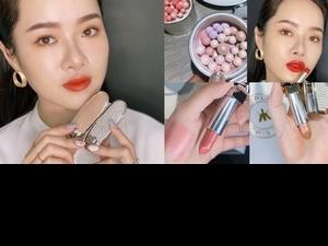 鑲滿珍珠造型的嬌蘭唇膏彩殼,搭配閃著細緻珠光的蜜桃玫瑰色#76,會不會太仙太美