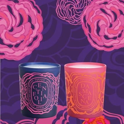 diptyque情人節限定系列來了~繫上印花緞帶的橢圓玫瑰室內香蠟,太香太美了