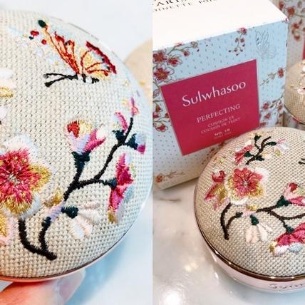 好想要!立體法式刺繡的氣墊粉盒太美,一用肌膚就春暖花開了!