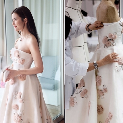 劉亦菲坎城自帶仙氣光!Dior裙上50朵玫瑰卻花了500小時
