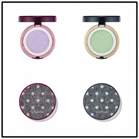 「柔光調色氣墊隔離霜 ( YCH限定版)」SPF14 / PA++ NT.1150元 (15x2g,柔紫、嫩綠)
