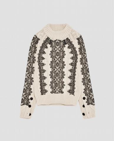 推薦單品一: 蕾絲麻花針織上衣 NT1790