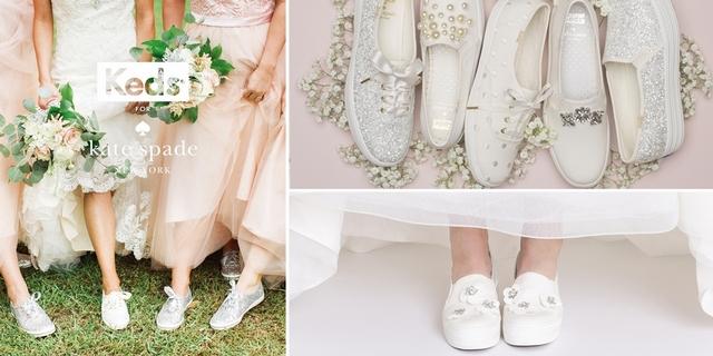小白鞋繫上緞帶、珍珠好夢幻!Keds X Kate Spade聯名婚鞋隨興搭就超仙超美
