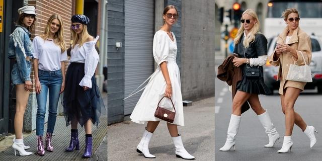 小白鞋穿膩了就換雙白靴吧!10位街拍潮人教你入秋這樣搭