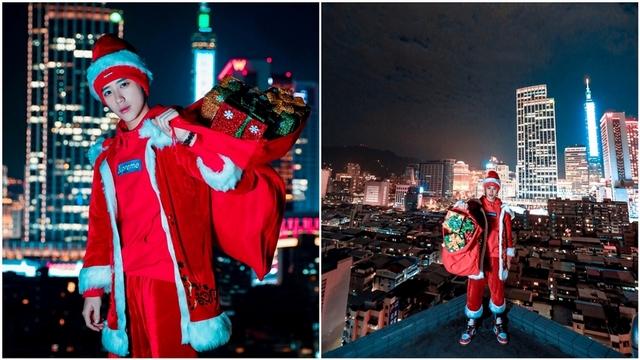 陳慕扮耶誕老人! 30層高樓拍攝差點腿軟