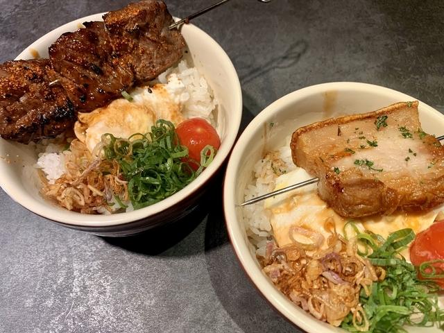 豬五花飯、牛肉串飯