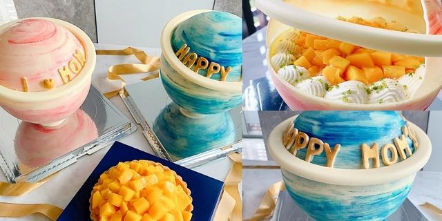 粉嫩星球蛋糕裡竟是芋泥、芒果!板橋絕美蛋糕推薦「Postre波絲甜」東京藍帶主廚打造,木槌敲開還有滿滿水果~