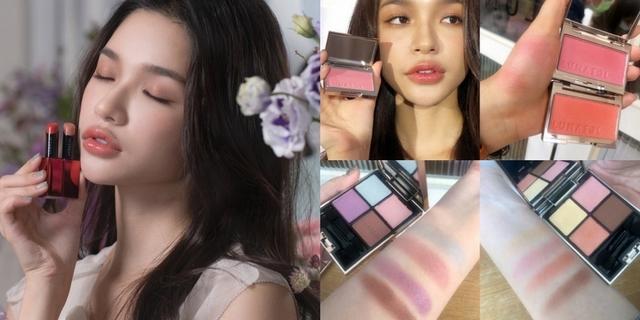 穿透感的眼妝,就擦上Lunasol咖啡色疊上淺紫色,藕紫色的仙女色,掃黃又顯白