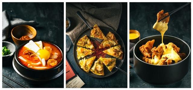 泡菜豆腐鍋、海鮮煎餅、起司炸雞