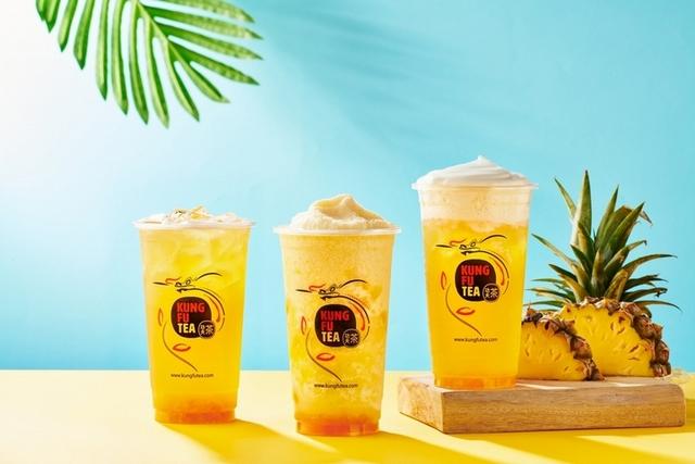 美國功夫茶「陽光鳳梨茶、鳳梨冰沙」