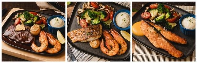 美國安格斯牛排佐鮮蝦干貝 420元、北海道干貝佐鱸魚鮮蝦 360元、嫩煎挪威鮭魚排 440元