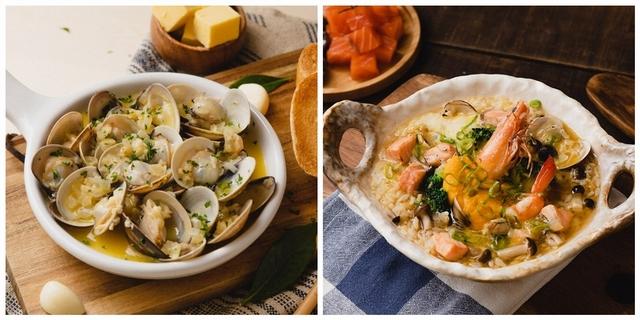 味噌鮮鮭玉子雜炊 240元、綜合海鮮鮭魚雜炊 280元
