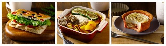 圖左起為:義式雞肉佛卡夏、櫛瓜肉醬生義大利麵(牛)、義式番茄雞肉鹹派