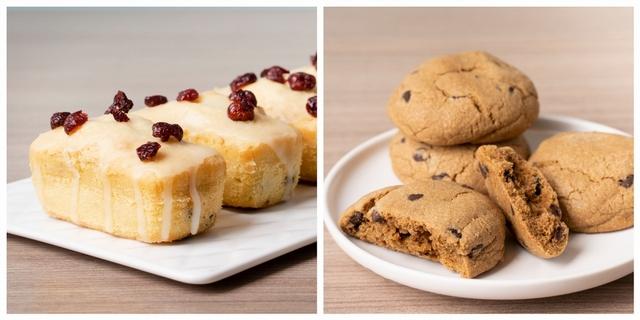 蔓越莓檸檬磅蛋糕 680元、美式巧克力軟餅乾 380元