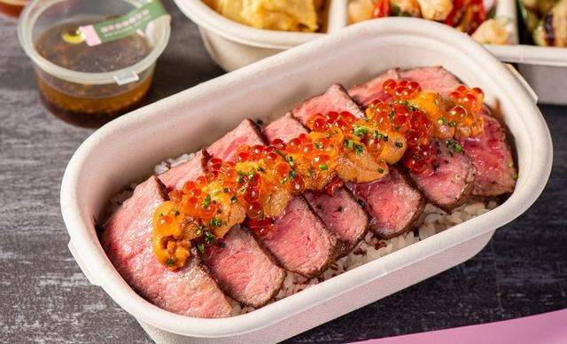 極上牛小排・根室赤海膽・鮭魚卵 680元
