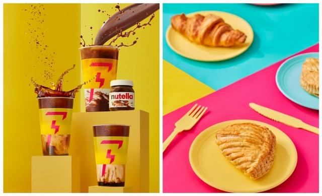 明星款 榛心可可拿鐵、桂花拿鐵、沙灘拿鐵,還有必吃點心 奶油可頌、巧克力可頌、蘋果酥派