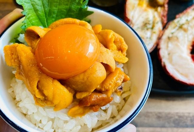 北海道海膽生蛋黃醋飯