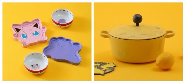 百變怪、胖丁造型碗盤組 749元(碗盤各一)/ 皮卡丘鑄鐵琺瑯湯鍋 1,790元(20cm)