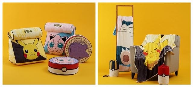 皮卡丘、胖丁枕型三角靠墊 1,290元 / 皮卡丘、卡比獸法蘭絨毯 899元(單件)