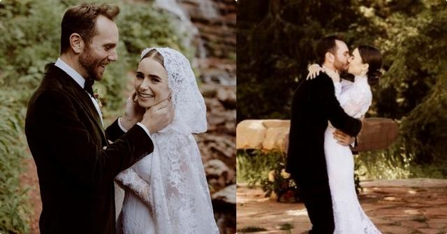女神莉莉柯林斯結婚了!甜蜜擁吻導演老公,曬絕美婚紗照超甜