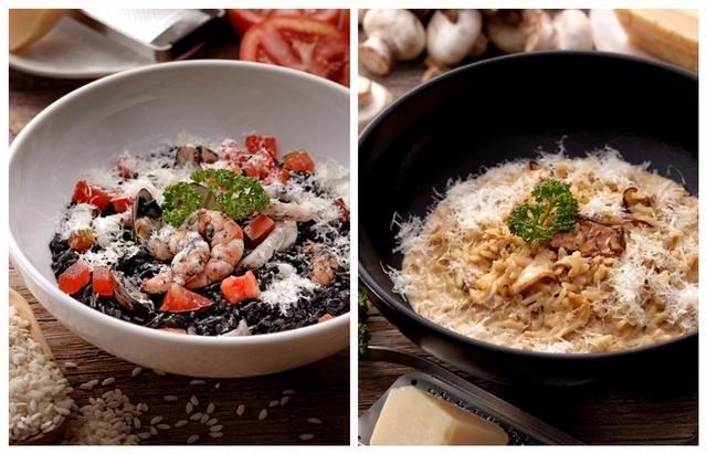 海鮮墨魚燉飯、雞肉牛肝菌奶油燉飯