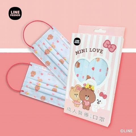 LINE FRIENDS 熊熊愛上你成人平面口罩