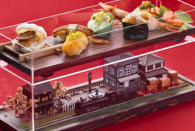 ⼤車輪の盒火⾞握壽司