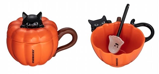 黑貓南瓜嬉戲馬克杯700元、黑貓南瓜精靈碗匙組720元