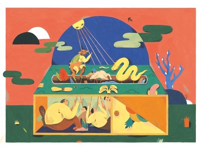 川貝母〈操控時間的人〉,55x40cm,廣告顏料