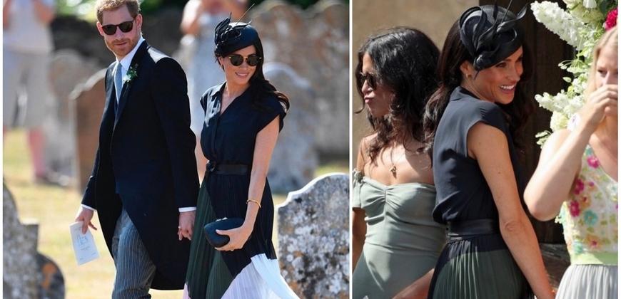 梅根與哈利十指緊扣現身朋友婚禮,身著Club Monaco百褶裙成最美嘉賓!