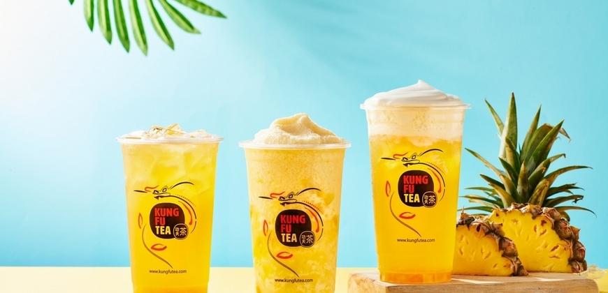 喝得到果肉!全台「瘋鳳梨」美國功夫茶「陽光鳳梨茶、鳳梨冰沙」第二杯5折